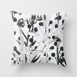 Vintage floral in black and white Throw Pillow