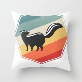 Retro Skunk Throw Pillow