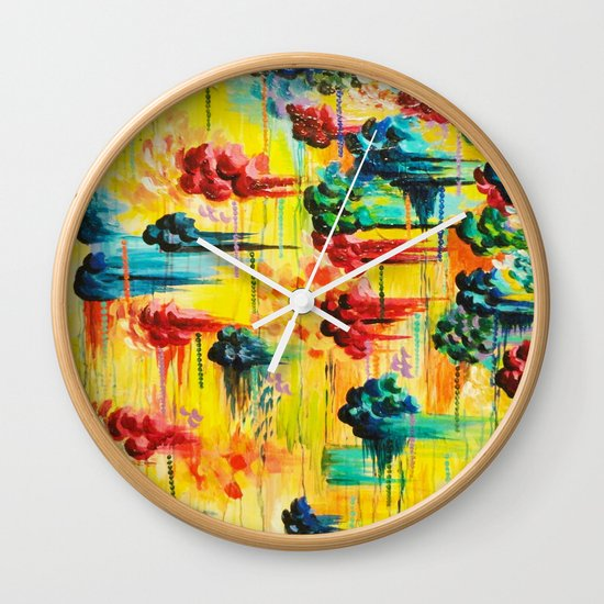 HERE COMES THE RAIN - Abstract Acrylic Painting Rain Storm Clouds Colorful Rainbow Modern Impasto Wall Clock