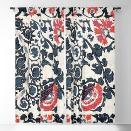 Shakhrisyabz Suzani  Antique Uzbekistan Rug Fragment Print Blackout Curtain
