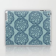 Navy blue lace floral Laptop & iPad Skin