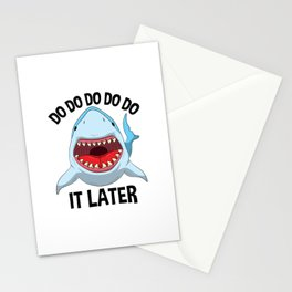 Do It Later Lazy Shark T Shirt Sharks Lover Kids Gift Stationery Cards