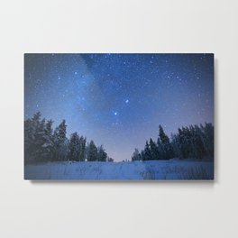 Blue Night Stars Wintry Forest Metal Print