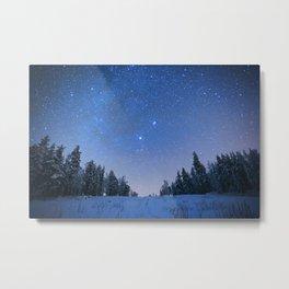 Blue Night Stars Wintry Forest Metal Print