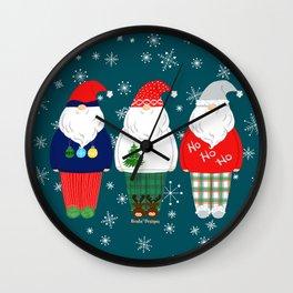 Santas In PJs On Teal Wall Clock