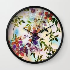 garland of flowers Wall Clock