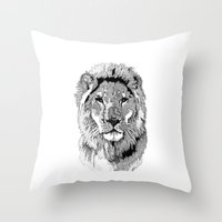 nfl Throw Pillows featuring Animal Prints - Proud Lion - By Sharon Cummings by Sharon Cummings