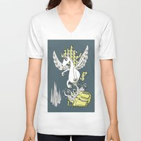 backpack V-neck T-shirts featuring Magical Mystery Backpack by Amy Gale