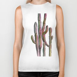 Cactus in green and pink Biker Tank
