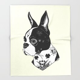 Dog - Tattooed BostonTerrier Throw Blanket