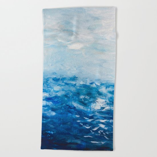 Paint 10 abstract water ocean seascape modern painting dorm room decor affordable stretched canvas Beach Towel