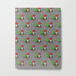 Festive Winter Penguin - Merry Christma Metal Print