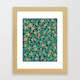 Oranges and Leaves Pattern - Navy Blue Framed Art Print