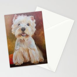 White Terrier Westie Dog portrait Oil painting on canvas Decor for Pet Lover Stationery Cards