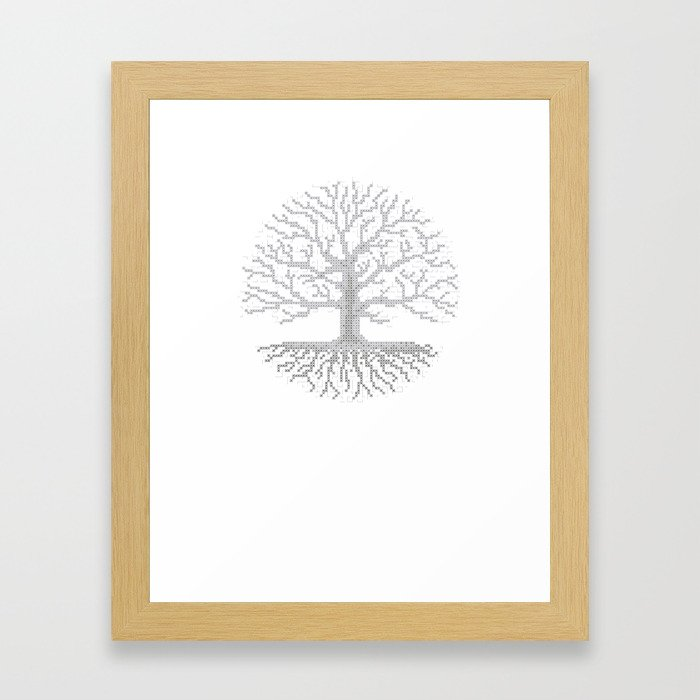 Pixel Art - Cross Stitch Chart - Grey Tree of Life - Framed Art Print