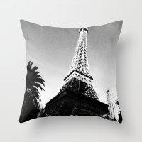 eiffel Throw Pillows featuring Eiffel by Melynda Nichole