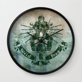 Wild and Free Motorbike Rider Wall Clock