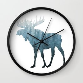 Misty Forest Moose Wall Clock