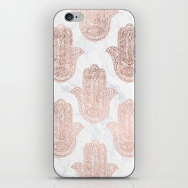 Modern rose gold floral lace hamsa hands white marble illustration pattern iPhone Skin