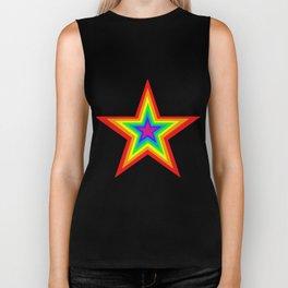 Bright Hypnotic Rainbow Pride Star Biker Tank