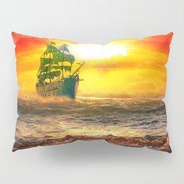 Black Pearl Pirate Ship Pillow Sham