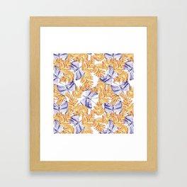 Blue and Gold Butterflies Framed Art Print