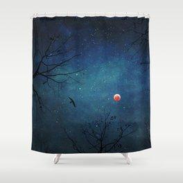 Blood Moon Through Trees Shower Curtain