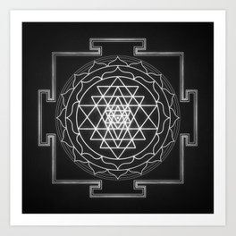 Sri Yantra XI - Black & White Art Print