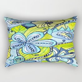 Turquoise, Yellow, and Green Floral Rectangular Pillow