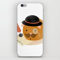 guinea pig iPhone & iPod Skins featuring Guinea Pig Portrait 2 by Nadia Keifens