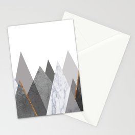 Marble Gray Copper Black and White Mountains Stationery Cards