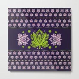 Lotus Flower in Bright green and Rose quartz Metal Print