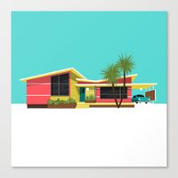mid century Canvas Prints featuring Mid Century House, Miami by MidPark Prints