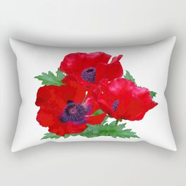 Red oriental poppies Rectangular Pillow