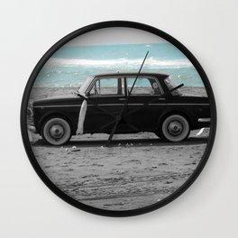 Weddings car on the beach 2 Wall Clock