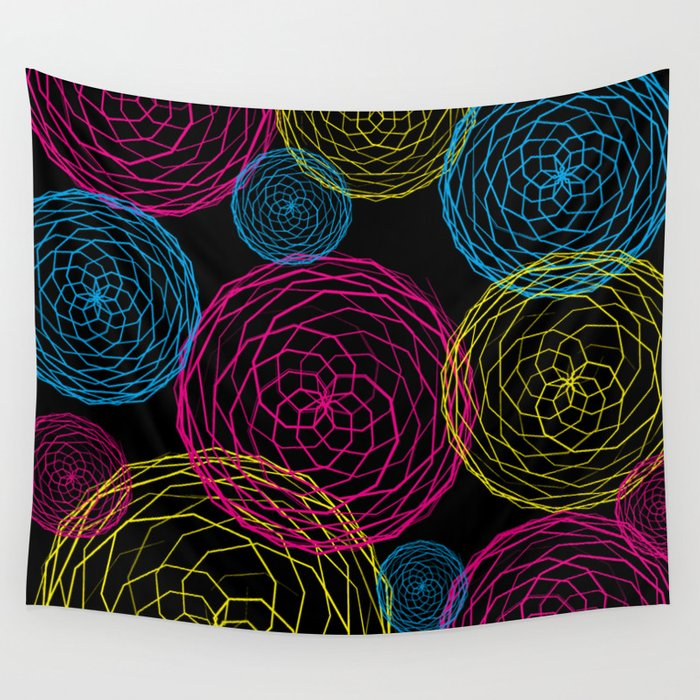 Spiro Blooms in Noir Wall Tapestry