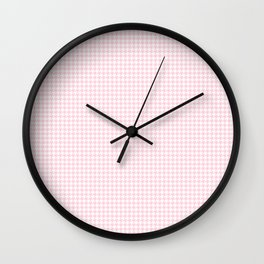 Soft Pastel Pink and White Hounds Tooth Check Wall Clock