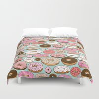 donut Duvet Covers featuring Donut Wonderland by Kristin Nohe Juchs