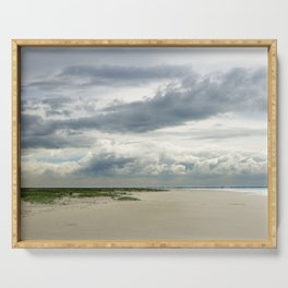 cloudy sky at the beach in the netherlands   nature photo   fine art photo print   travel photograph Serving Tray