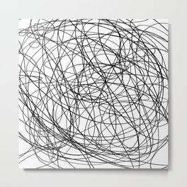 Black line doodle single line Metal Print