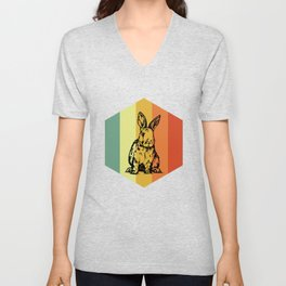 RABBIT Hipster Leporid Shirt Unisex V-Neck