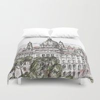 budapest Duvet Covers featuring Budapest Art by Daria Kotyk