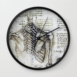Leonardo Da Vinci human body sketches - skeleton Wall Clock