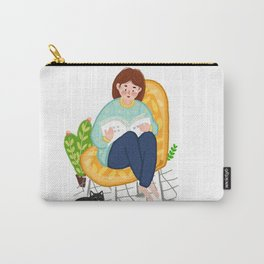 Reading Girl And Cat Carry-All Pouch