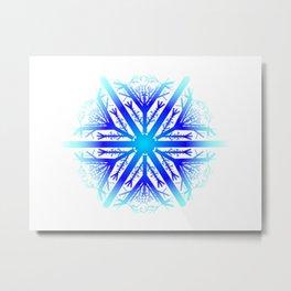 Blue Snowflake Design Metal Print