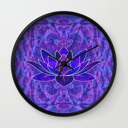 Blue and Purple Lotus Floral Tribal Print Wall Clock