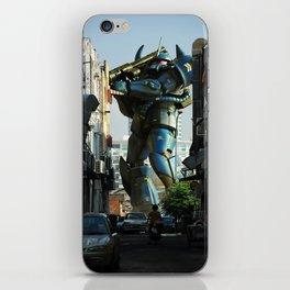Mech behind a back alley iPhone Skin