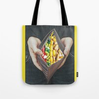 pills Tote Bags featuring pills by marzesu collages