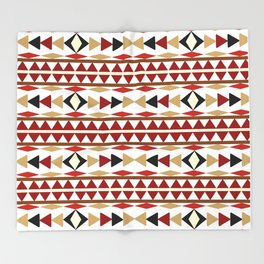 Navajo White Pattern Art Throw Blanket