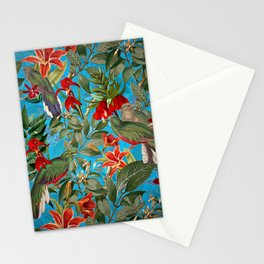 Vintage & Shabby Chic - Tropical Birds and Orchid  Aloha Jungle Flower Garden Stationery Cards